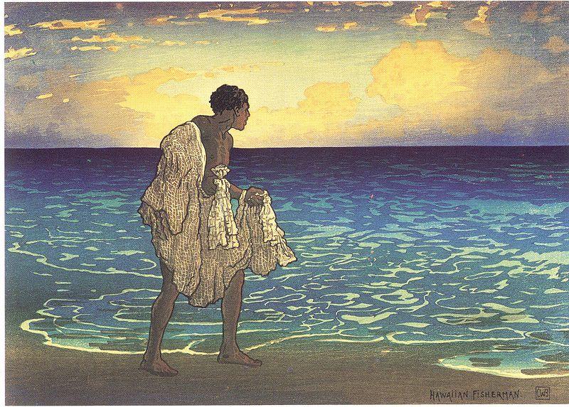 800px-'Hawaiian_Fisherman',_woodblock_print_by_Charles_W__Bartlett,_1919,_Honolulu_Academy_of_Arts