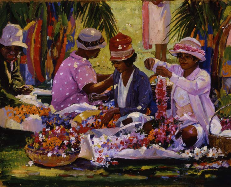 John_Melville_Kelly's_oil_on_board_painting_'Lei_Makers_on_the_Greensward',_c__1930