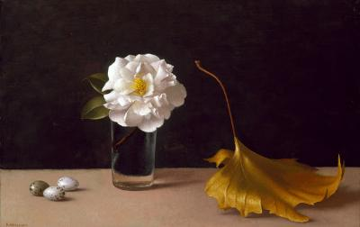 Amy Weiskopf, Sparrow Eggs, White Camelia & Dead Leaf, Oil on Canvas