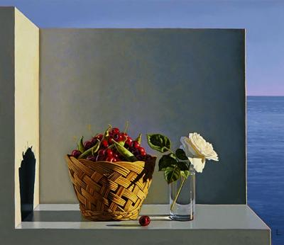 David Ligare, Still Life with Cherries, Peas & Rose, oil on Canvas
